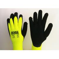 Quality Fluorescent Yellow Latex Palm Coated Gloves , Rubber Coated Gloves Knit Wrist Type for sale