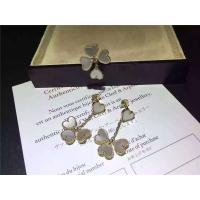 Quality Van Cleef Sweet Alhambra Earrings , White Mother Of Pearl Earrings With Round Diamond for sale