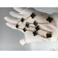 Quality Vintage Style 10 Motifs 18K Gold Necklace With Onyx Van Cleef Arpels for sale