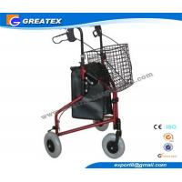 Quality Three Wheel Folding Rollator Walker Aids With Cable Brakes And Food Tray for sale