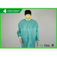 Buy cheap green color sms disposable lab coat with knitted collar for