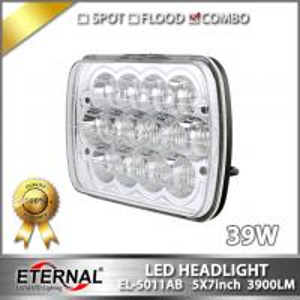 Quality 39W led headlight 5x7 sealed headlamp for truck trailer wrangler Rubicon vehicles crane heavy duty mining equipments for sale