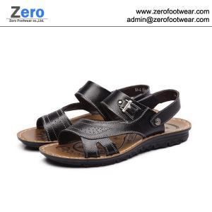 Quality 2014 summer new men sandals men slipper A469 men Cow Split sandals metal button for sale