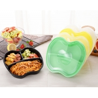 China Apple shaped three - compartment box PP material microwaveable to pack food and drink takeout bento container on sale