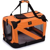 China Soft Folding Travel Collapsible Pet Dog Crate Carrier Bag with leash holder on sale
