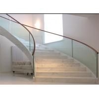 China Modern prefabricated curved stairs diy arc stairs marble stairs glass railing on sale