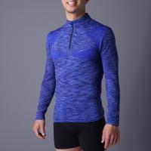 Quality Active men's sport coat,  XLSC002, melange blue, seamless stretch long sleeve,T-shirt.  better silhouette for sale