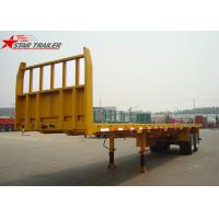 Quality 2- Axis 40 Foot Flat Deck Semi Trailer Baffle 8 Tires 13T FUWA Axles In Yellow for sale