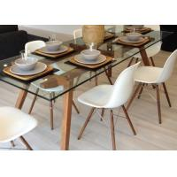 China Simple Glass And Solid Wood Long Modern Dining Table / Home Kitchen Furniture on sale