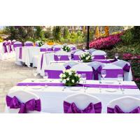 Quality Perfect Purple Wedding Reception Decorations tablecloth and chair cover and table runners for sale