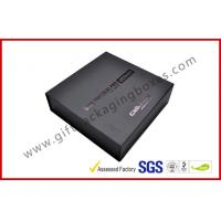 Customized Plastic Paper Covered Rigid Gift Boxes with Black LOGO Hot-stamping , High Density Foam