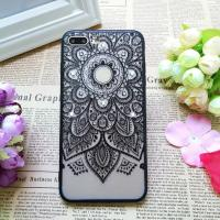 China PC+TPU Black Silk Lace Pattern with Diamonds Back Cover Cell Phone Case For iPhone 7 6s Plus on sale