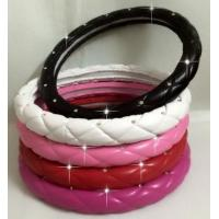 China Crystal Crown covered Leather Car Steering Wheel Cover Diamond Steering Covers Cases For Women/Girls on sale