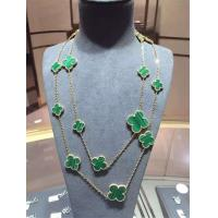 Quality Magic Alhambra Long Necklace Van Cleef And Arpels 16 Motifs Yellow Gold Malachite for sale