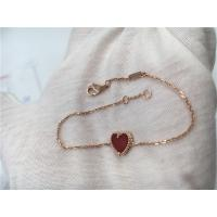 Quality Young Ladies 18K Gold Jewelry Sweet Alhambra Heart Bracelet With Carnelian for sale