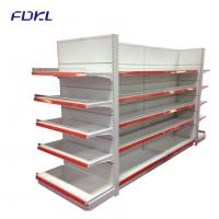 Quality Modular Supermarket Metal Shelves With Round Hole Pegboard Panel / Plain Panel for sale