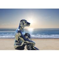 China Polished Mirror Famous Abstract Sculptures Dog Animal Sculpture As Seaside Decor on sale