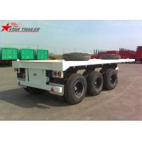 Quality Three - Axle 40FT 12 Tires Flatbed Semi Trailer , Flatbed Equipment Trailer for sale