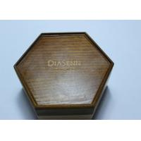 Buy Dark Solid Wood Standing Jewelry Box , Gift Wood Hexagon Shaped Box at wholesale prices