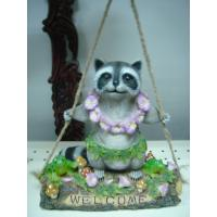 China Decorative whimsical Epoxy Resin Garden  Crafts Racoon Playing on Swing on sale