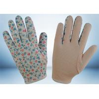 Quality Flower Printed Cotton Gardening Gloves Slip Proof Three Stitches Lines for sale