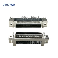 Quality 90 Degree PCB Right Angle SCSI 50pin Female Connector W/ Zinc Alloy Shell for sale