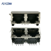 Quality 2 Ports 16 Pin PCB Right Angle Female RJ45 Connector With PBT Insulator for sale
