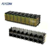 Quality PCB 2x8 Ports 16*10P 160 Pin RJ45 Connector With Right Angle Terminal for sale