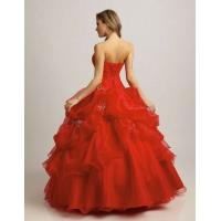 China Custom Red Color Ball Gown Sweetheart Masquerade Prom Dresses With EMB on sale