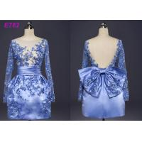 Quality Blue Color See Through Short Long Sleeve Evening Dresses With Bowknot for sale