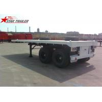 Quality Two Axle 20FT 8 Tires White Flatbed Car Trailer With Twist Locks , Long Life for sale