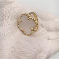 Quality White Mother-Of-Pearl 18K Gold Ring Magic Alhambra Simple Design For Young Ladies for sale