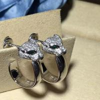 Quality Emeralds  Diamond Earrings , 18K White Gold Diamond Earrings With Panther Shape for sale
