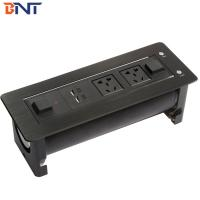 Quality black color with dual usb charger electric style motorized desk flip up outlet for sale