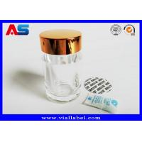 Quality Transparent Acrylic Plastic Pill Bottles With Gold Caps  , Empty Tablet Bottles for sale