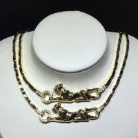 Quality 18K Yellow Gold High End Custom Jewelry  Panther Necklace With Diamonds / Lacquer for sale