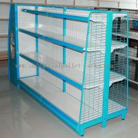 Quality Gondola Shelving Blue Light Duty Display Rack With Wire Mesh or Steel Board Side for sale