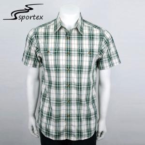 Buy cheap Grid Checked Mens Summer Shirts , Short Sleeve Collar Shirt Breathable from wholesalers