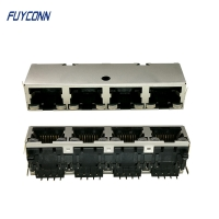 Quality 1x4 Ports 4*8P 32 Pin Female Socket PCB RJ45 Modular Jack Connector for sale