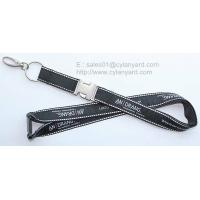 Quality Expensive embroidered label applique lanyard with metal buckle, double layered lanyards, for sale