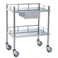 Quality Movable Medical Clinical Trolley Stainless Steel With Two Shelves And One Drawer for sale