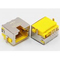 Quality Right Angle 8P8C RJ45 Female PCB Connector Tab Up Yellow Housing Sinking for sale