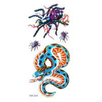 Quality Temporary Tattoos Spiders Snake Pattern Design Vivid for sale
