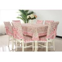 Quality Pastoral floral fabric tablecloth with border and chair cover set for outdoor event, for sale