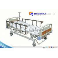 Quality Home care hospital beds with rails , Three Revolving Levers Manual Medical Bed for sale