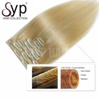 China 613 Blonde Straight Brazilian Clip In Human Hair Extensions Double Drawn No Smell on sale