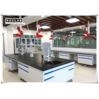 Quality C Frame Steel Stucture Lab Island Bench With Ceramic Countertop and Reagent Shelves for sale