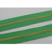 Quality Luggage / Handbags Long Chain Zipper 5# / 8# Gold Teeth 50m In One Roll Green Tape for sale