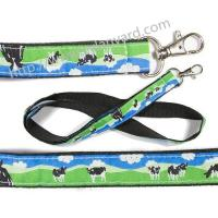Quality Logo woven ribbon overlay lanyards, design text jacquard ribbon applique badge lanyards, for sale