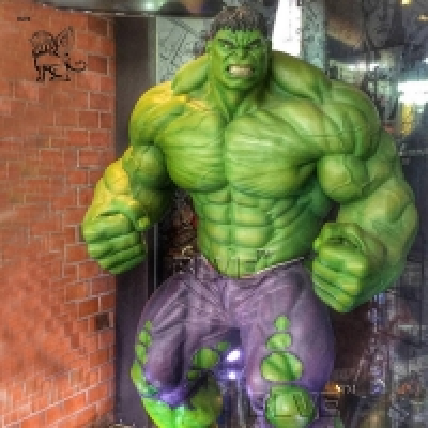 Buy Marvel Superhero Fiberglass Hulk Statue Life Size Resin Sculpture at wholesale prices